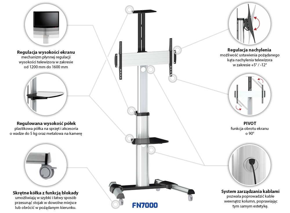 FN7000 - mobilny stojak na kółkach do telewizora