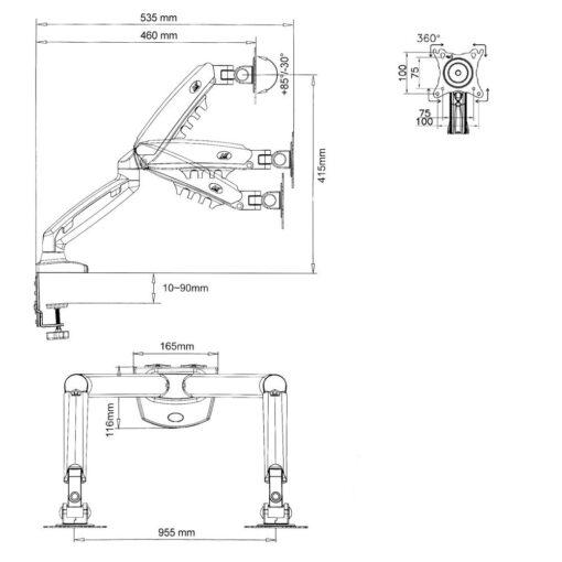 F160 - uchwyt do dwóch monitorów rys. techniczny.